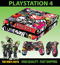 PS4 aderente Stickerbomb 001 GRAFFITI cartone adesivo + Tappetino decalcomanie