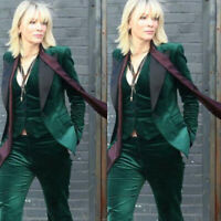 Velvet Women Green 3 Pieces Suit Business Office Work Suit Ladies Proms Tuxedos