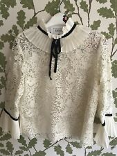 BNWT Erdem x H&M  White Cream Silk Blouse with Lace-US SIZE 6 EUR 36 SMALL