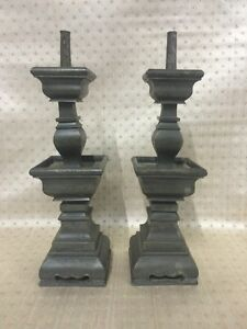 Signed Chinese Pewter Prickets