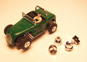 HO Repro Aurora Hot Rod/Dune Buggy/Indy/GP Racer 4 Dimple Chrome Hubs Set of 4