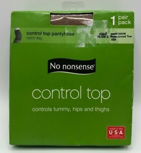 NO NONSENSE Control Top Reinforced Toe Pantyhose SZ Plus 2 Queen Tan 1 Pair NEW