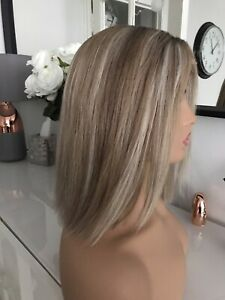 """Glueless Highlights Ombre Blonde Grey Wig 12"""" 100% Lace Virgin Human Real Hair"""