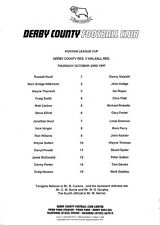 Teamsheet - Derby County Reserves v Walsall Reserves 1997/8 Pontins League Cup