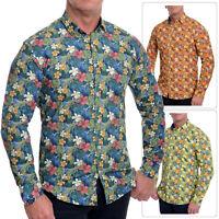 Men's Casual Floral Print Dress Shirt Cotton Slim Fit Vivid Colours Long Sleeve