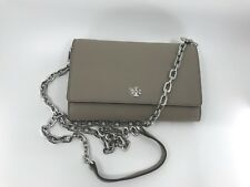 5870351a5dd Tory Burch NEW Robinson Chain French Gray Flap Leather Wallet Purse Silver   298