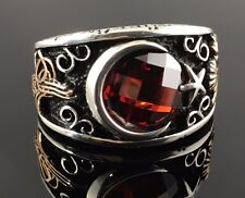 .925 Sterling Silver Turkish Flag Ruby Red Zircon Stone Men's Ring-US Seller K4F