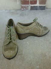 NATURALIZER Dolan Ankle Wedge Booties Olive Green  Lace up Shoes Size 9M VGC