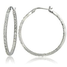 Sterling Silver Cubic Zirconia Inside Out 40mm Round Hoop Earrings