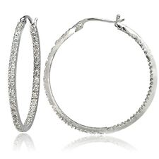 Sterling Silver Cubic Zirconia Inside Out 40mm Round Hoop Earrings
