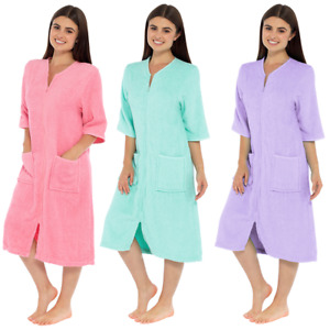 Ladies Zip Soft COTTON TERRY Dressing Gown, Zipped Robe With Pockets, LN728