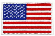 "US FLAG WHITE BORDER EMBROIDERED PATCH 3.5"" x 2.25"" USA AMERICAN FLAG (RWB-8)"
