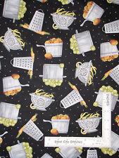 Kitchen Cook Pot Pan Food Black Cotton Fabric Quilting Treasures Cuisine - Yard