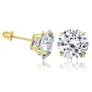 14K Solid Yellow Gold Round Solitaire Cubic Zirconia Screw Back Stud Earrings