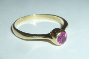 Goldener 585 Gold Ring Goldring 14K Karat Damenring lila Stein Größe 56 Ø 18mm