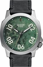 Nixon Men's A4662069 Ranger 45 Leather Gunmetal Green Oxyde A466-2069