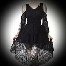 New Black Gothic Lace Button Corset Sleeve High Low Dress size 4XL 14 16 18