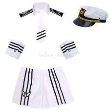 Sexy Lingerie Navy Captain Costume Mens Sailor Uniform Fancy Dress Party Cosplay