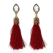 ANTIQUE GOLD BURGANDY RED TASSLE EARRINGS BEACH HOLIDAY LADIES GIFT *UK SELLER*