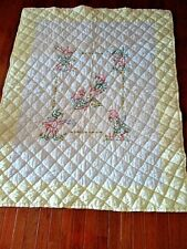 Vtg 42X55 Hand Embroidered+ Quilted Elves Baby Crib Nursery Quilt Blanket