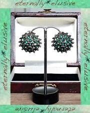 Vintage Emerald Green Paste Glass Silver Plate Pot Metal Cluster ClipOn Earrings