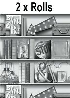 2 Rolls UPCYCLE Mono Library Study Bookcase Book Shelf Wallpaper - 694200