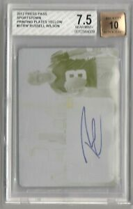 Russell Wilson 2012 Press Pass Print Plate Autograph Rookie RC #1/1 BGS AUTO 10