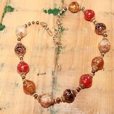 "Vintage Venetian Milano Copper Sommerso Aventurina Beaded 17"" Necklace"