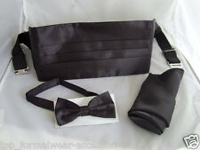 BLACK Polyester Bow Tie + Cummerbund and Hankie Set >* P&P 2UK>>1st Class *