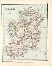 Carta geografica antica IRLANDA unita Hughes 1878 Old map IRELAND