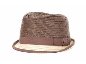PL Two Tone Straw Fedora Bucket Dress Fashion Hat Cap Lid Natural & Brown S/M