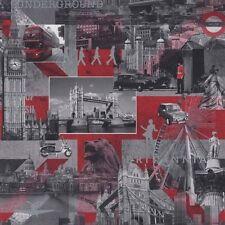LONDON CITY BRITANNIA BLACK WHITE RED MURIVA FEATURE DESIGNER WALLPAPER 102509