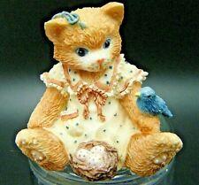 "Collectible Vintage Calico Kittens ""I Love Spring"" Enesco Mini Figurine Cat"