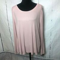 INC International Concepts Womens Blouse Size 1X Pink Ribbed Tshirt Stretch