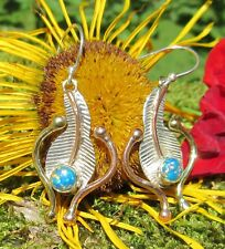 Earring Feather Opal Fire Blue Sterling Silver 925 Three-Color Native American