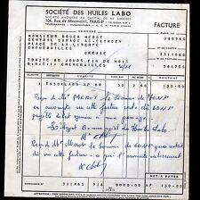 """PARIS (VIII°) HUILES AUTOMOBILE """"LABO"""" en 1960"""