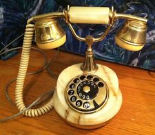 Vintage Antique European Rotary Marble Brass Accent Telephone Phone RARE