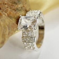 925 Silver Jewelry Princess Cut White Sapphire Women Fashion Wedding Ring Size 9