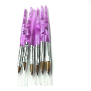 6pcs 2#4#6#8#10#12# Kolinsky Sable Brush Pen Acrylic Nail Art Builder Profession