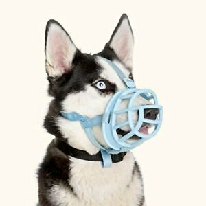Baskerville Ultra Muzzle - Adjustable Padded Dog Muzzle Rubber Basket - Blue