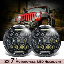 2X 7'' Projector Round LED Headlight Hi-Lo Beam Lights For Jeep Wrangler JK TJ