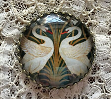 "PAIR OF SWANS Glass DOME BUTTON 1 1/4""  VINTAGE Arts and Crafts BIRDS"