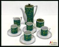 Vintage 60s Mid Century Modern Teal Blue Demitasse Set Coffee Pot Cups Serves 4