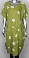 New Ladies Italian Lagenlook Polka Dot  2 Pocket Linen Tunic Short Sleeve Dress