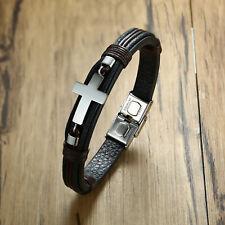 Rock Christ Cross Charm Men Braided Leather Bracelet Wristband Surfer Xmas Gift