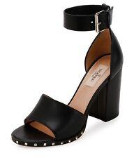 valentino Soul Rockstud 90mm City Sandal Black Leather Size 40.5