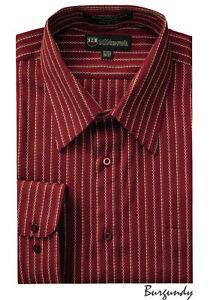 Men's Milano Moda Classic Stylish Striped Dress (casual) Shirt Burgundy # SG36
