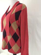 Women's Plus Size L Sweater V Neck Long Sleeve Argyle Diamond Orange brown