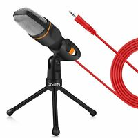 DISDIM PC Microphone, 3.5mm Jack Condenser Recording Microphone with Mic Stand