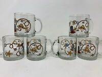 Vtg USA Made Western Cowboy Boot Lasso Branding Glass Mug Set of 6